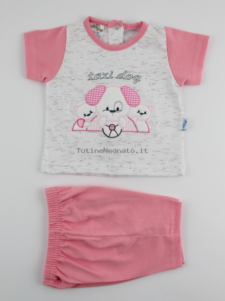 Picture baby footie outfit cotton jersey taxi dog. Colour coral pink, size 6-9 months Coral pink Size 6-9 months