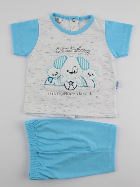 Picture baby footie outfit cotton jersey taxi dog. Colour turquoise, size 6-9 months Turquoise Size 6-9 months