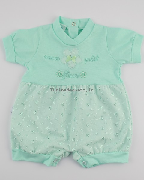 Picture baby footie straw wicker mon petit fleur. Colour green, size 1-3 months