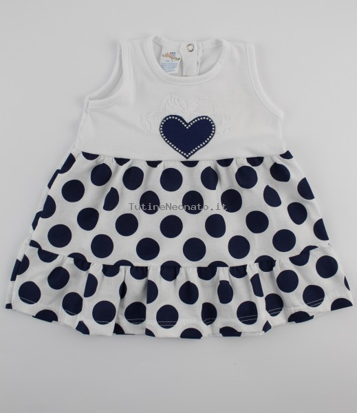 Picture baby footie cotton heart vest and polka dots. Colour blue, size 9-12 months Blue Size 9-12 months