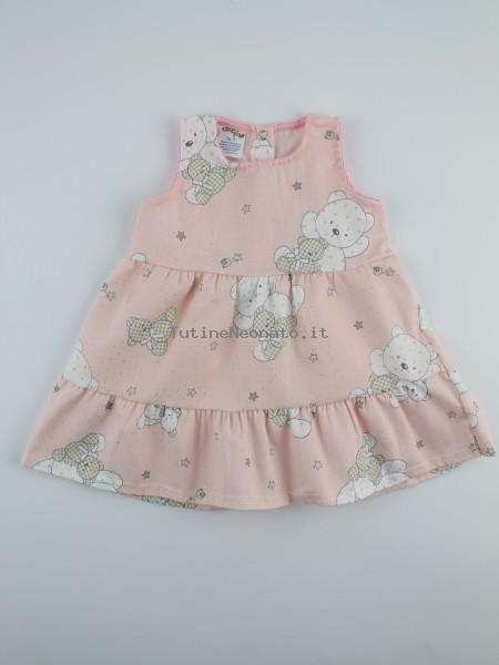 Image baby footie cotton piquet vest bears and stars. Colour pink, size 3-6 months Pink Size 3-6 months