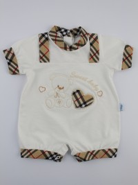 Picture baby footie straw boy sweet baby. Colour creamy white, size 0-1 month