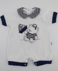 Picture baby footie romper barchetta. Colour white, size 3-6 months