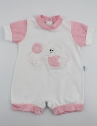 Picture baby footie straw lifebelt. Colour pink, size 0-1 month