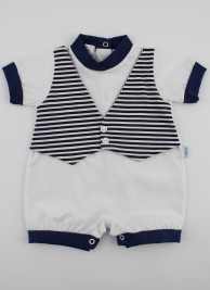 Picture baby footie straw waistcoat. Colour white, size 6-9 months