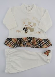 Image baby footie cotton outfit j love. Colour creamy white, size 3-6 months