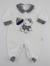 Baby footie jersey striped barchetta picture. Colour white, size 0-1 month