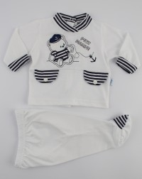 Picture baby footie outfit jersey bear petit marine. Colour white, size 0-1 month