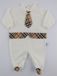 Image baby footie jersey Scottish tie. Colour creamy white, size 3-6 months