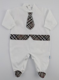 Image baby footie jersey Scottish tie. Colour grey, size 3-6 months