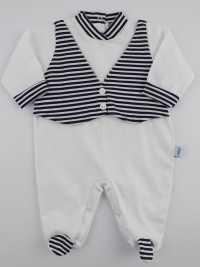 Baby footie jersey stripes vest image. Colour white, size 3-6 months