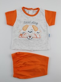 Picture baby footie outfit cotton jersey taxi dog. Colour orange, size 6-9 months