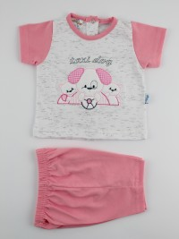 Picture baby footie outfit cotton jersey taxi dog. Colour coral pink, size 1-3 months