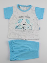 Picture baby footie outfit cotton jersey taxi dog. Colour turquoise, size 6-9 months