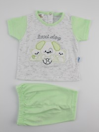 Picture baby footie outfit cotton jersey taxi dog. Colour pistacchio green, size 3-6 months