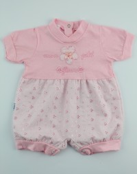 Picture baby footie straw wicker mon petit fleur. Colour pink, size 3-6 months
