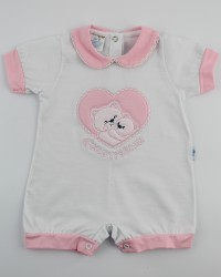 Picture baby footie straw cute romper. Colour pink, size 3-6 months