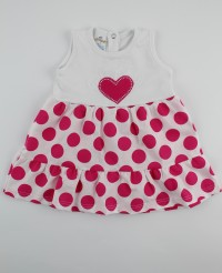 Picture baby footie cotton heart vest and polka dots. Colour coral pink, size 3-6 months