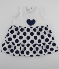 Picture baby footie cotton heart vest and polka dots. Colour blue, size 1-3 months