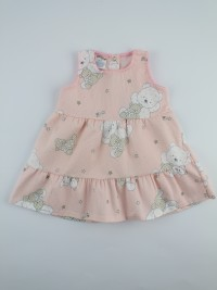 Image baby footie cotton piquet vest bears and stars. Colour pink, size 1-3 months