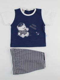 Picture baby footie jersey outfit the petit marinas. Colour blue, size 3-6 months