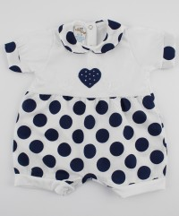 Picture baby footie romper hearts and polka dots. Colour blue, size 1-3 months