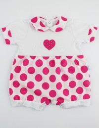 Picture baby footie romper hearts and polka dots. Colour coral pink, size 3-6 months