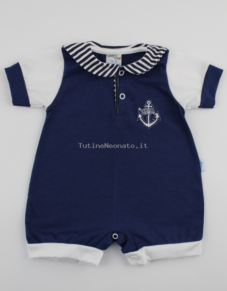 Picture baby footie romper polo still. Colour blue, size 6-9 months