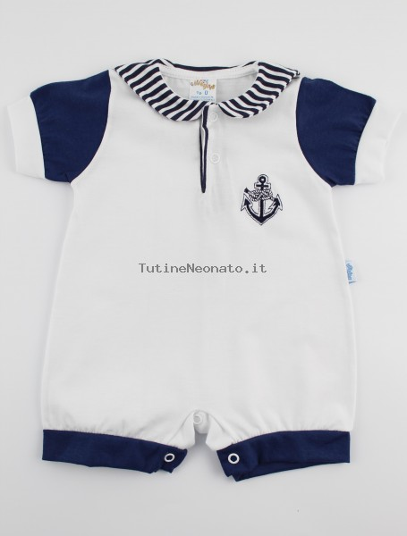 Picture baby footie romper polo still. Colour white, size 0-1 month White Size 0-1 month