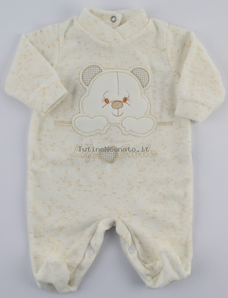 Image baby footie chenille life smile. Colour creamy white, size 1-3 months Creamy white Size 1-3 months