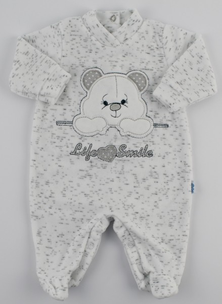 Image baby footie chenille life smile. Colour white, size 0-1 month White Size 0-1 month