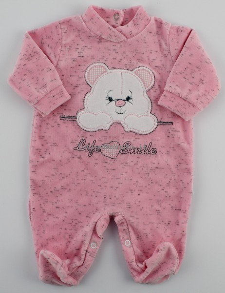 Image baby footie chenille life smile. Colour pink, size 3-6 months Pink Size 3-6 months