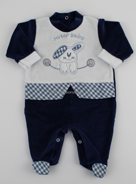 Image baby footie chenille sweet baby. Colour blue, size 6-9 months Blue Size 6-9 months