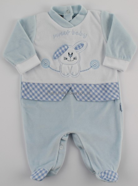 Image baby footie chenille sweet baby. Colour light blue, size 0-1 month Light blue Size 0-1 month