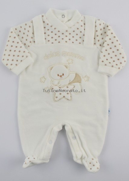 Chenille baby footie image sweet mother. Colour creamy white, size 6-9 months Creamy white Size 6-9 months