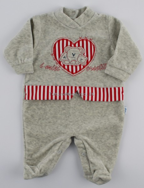 Picture baby chenille footie my bears. Colour grey, size 3-6 months Grey Size 3-6 months