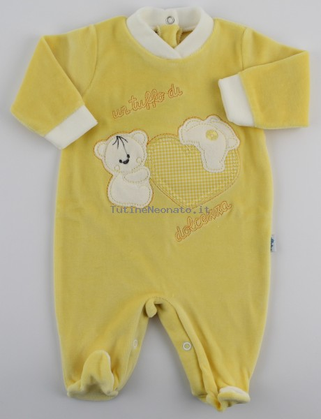 Picture baby chenille footie a dip of sweetness. Colour yellow, size 0-1 month Yellow Size 0-1 month
