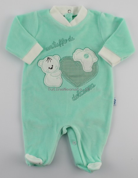 Picture baby chenille footie a dip of sweetness. Colour green, size 1-3 months Green Size 1-3 months