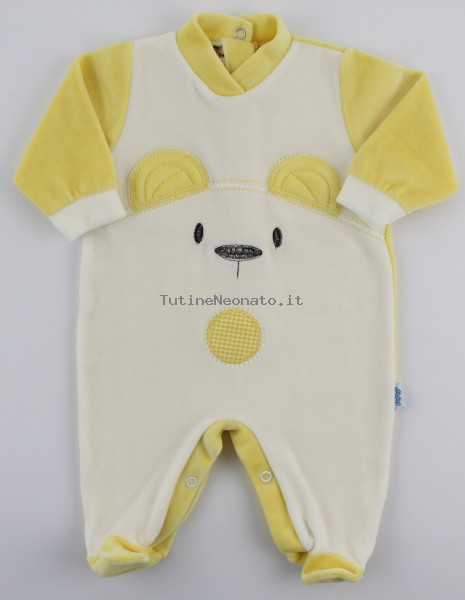 Chenille baby footie image of the white bear. Colour yellow, size 1-3 months Yellow Size 1-3 months