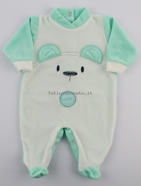 Chenille baby footie image of the white bear. Colour green, size 0-1 month Green Size 0-1 month