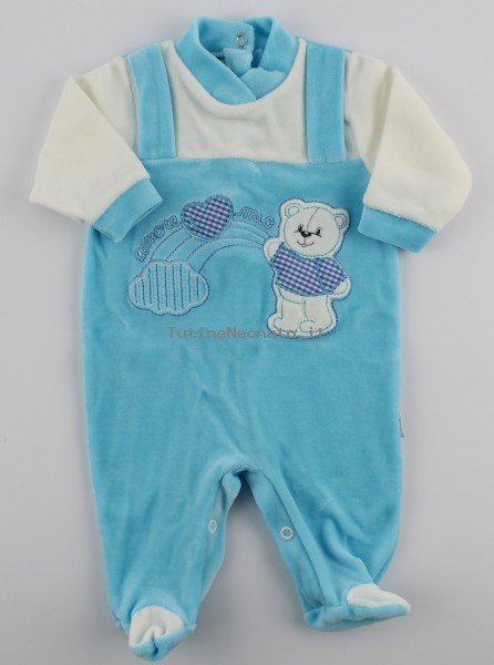 Picture baby footie chenille baby bear rainbow heart. Colour turquoise, size 6-9 months Turquoise Size 6-9 months