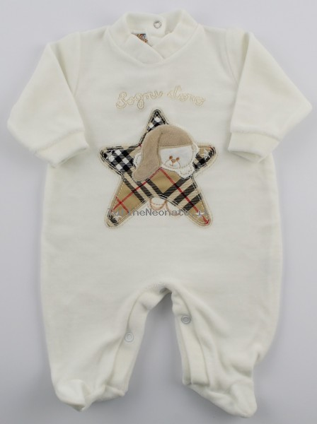 Image baby footie chenille dreams gold star Scottish. Colour creamy white, size 3-6 months Creamy white Size 3-6 months