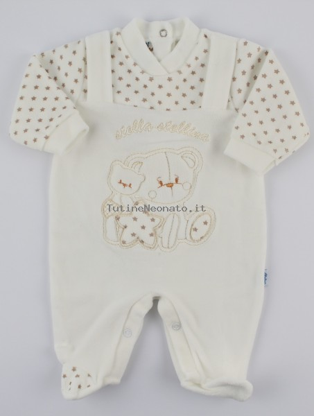 Image baby footie chenille star star. Colour creamy white, size 1-3 months Creamy white Size 1-3 months