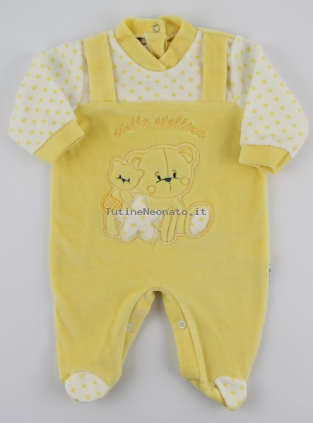 Image baby footie chenille star star. Colour yellow, size 0-1 month