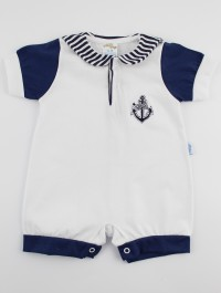 Picture baby footie romper polo still. Colour white, size 0-1 month