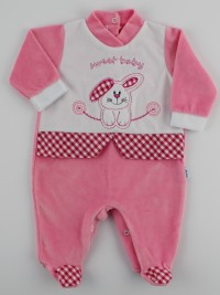 Image baby footie chenille sweet baby. Colour coral pink, size 6-9 months