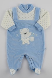 Chenille baby footie image sweet mother. Colour light blue, size 6-9 months