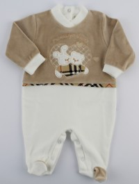 Picture baby chenille footie your favorite friend. Colour creamy white, size 6-9 months