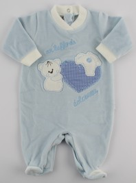 Picture baby chenille footie a dip of sweetness. Colour light blue, size 0-1 month