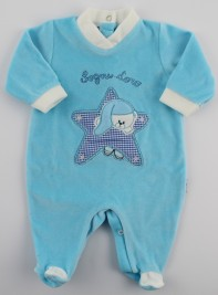 Baby image footie chenille dreams gold star. Colour turquoise, size 3-6 months
